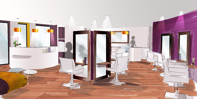 Julie math r novation d 39 un salon de coiffure ard che - Decoration interieur salon de coiffure ...